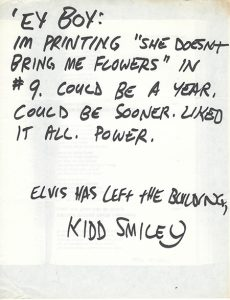 """The acceptance letter for """"She Doesn't Bring Me Flowers"""" from Kidd Smiley"""