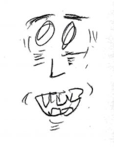 Crazy Face. Drawing by Harvey Dog