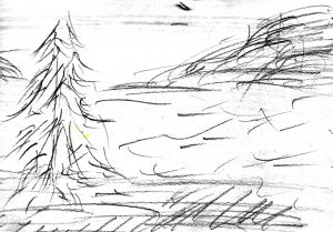 """Drawing by Harvey Dog for the poem """"River Deep"""""""