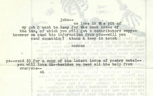Poetry Motel Acceptance Letter for In the Pit of my Gut