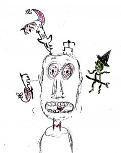 Nightmares - drawing by Harvey Dog