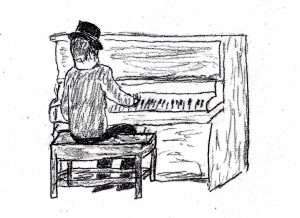Piano Player - drawing by Harvey Dog
