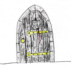 Note on the Door - drawing by Harvey Dog 2019