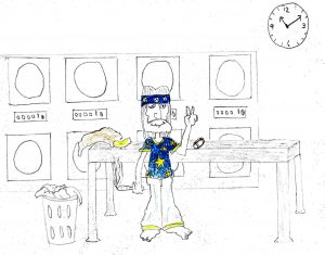 Hippie in a Laundromat - drawing by Harvey Dog 2020