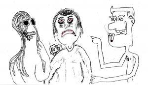 I Attract Weirdos - drawing by Harvey Dog 2020