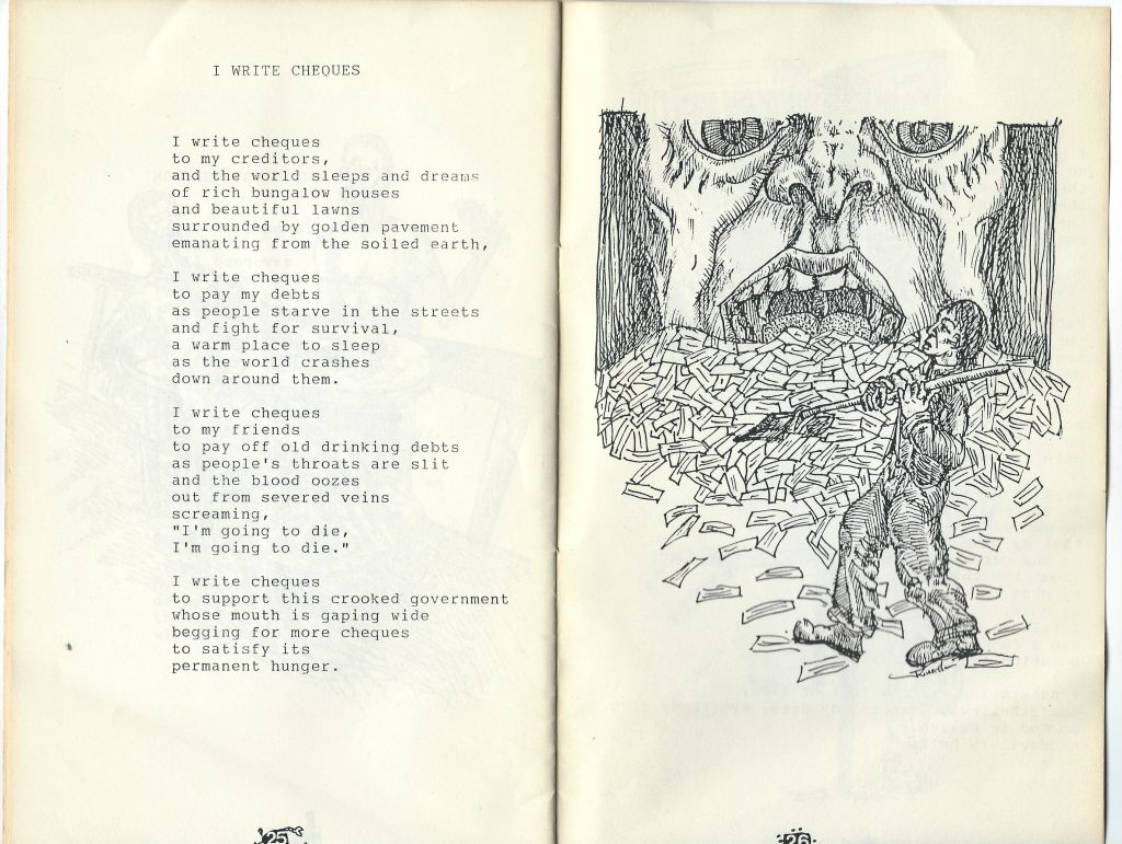 "I Write Cheques - drawing by John Kinsella - from The Hated Uncles' ""Variety Show"" booklet. 1989"
