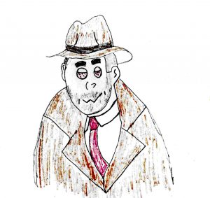 A 3rd Rate Philip Marlowe - drawing by Harvey Dog 2020