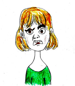 Disgusted Girl - drawing by Harvey Dog 2020