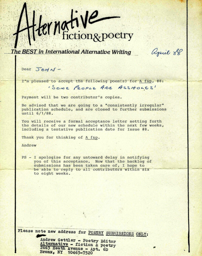 Acceptance Letter - Alt Fiction & Poetry 1988