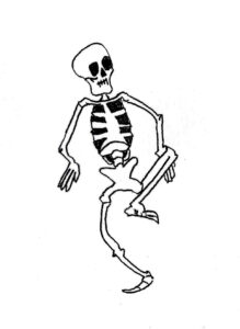 Skelton Dance - drawing by Harvey Dog 2020