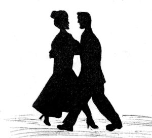 Silhouettes Dancing - drawing by Harvey Dog 2021