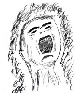 Man Screaming - drawing by Harvey Dog 2021