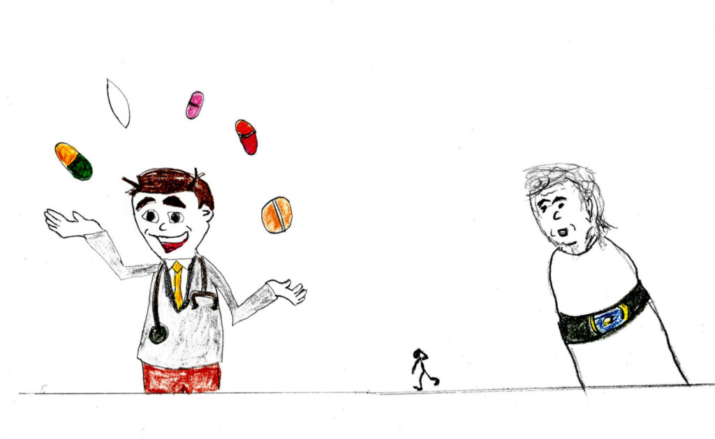 A Doctor & His Pills - drawing by Harvey Dog 2021